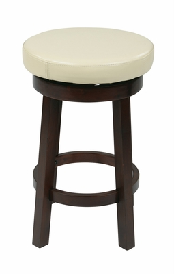Sophisticated Round Metro Barstool with Faux Leather by Office Star