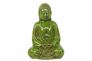 Sophisticated Sitting Buddha Statue in Glorious Green by Urban Trends Collection