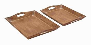 Sophisticated Wood Tray with Rich Brown Finish (Set of 2) Brand Woodland