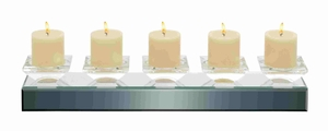 Sophisticated Wooden and Crystal Glass Candle Holder Brand Benzara
