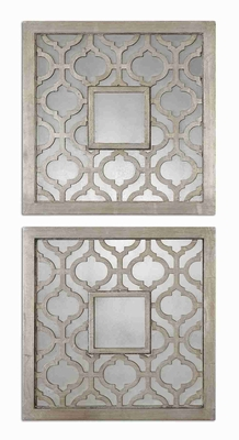 Sorbolo Square Wall Mirror Set with Silver Leaf Decorative Design Brand Uttermost