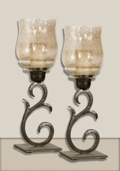 Sorel Small Candleholders Set/2, Antique Bronze Candleholder Brand Uttermost
