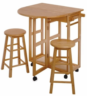 Winsome Wood Space Saver Drop Leaf Table with Two Round Stools