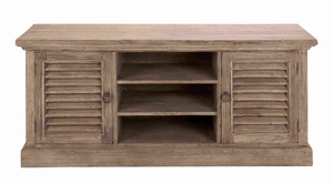 "Spacious 28""H Wooden Media Console with Slatted Top and Shelf Brand Woodland"