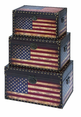 Spacious and Useful Solid Wooden Trunk in Multicolor Set of 3 Brand Woodland