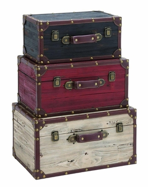 Wooden and Leather Trunk - Black, Red, White (Set of 3) by Benzara