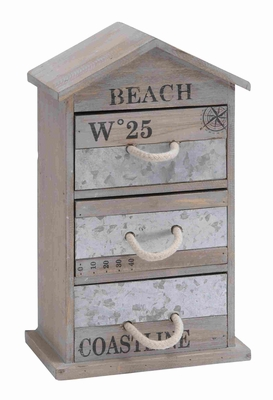 Spacious and Useful Wooden and Metal Box with Three Drawers Brand Woodland