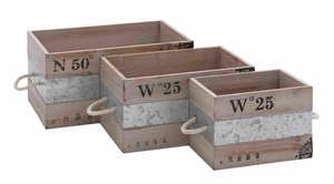 Spacious Wood and Metal Crate with Sturdy Construction Set of 3 Brand Woodland