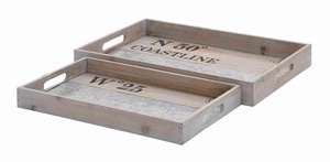 Spacious Wooden Rectangular Shaped Metal Tray Set of 2 Brand Woodland