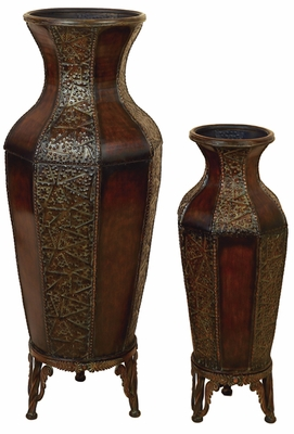 Spanish Courtyard Metal Flower Vases with Stands - Set of 2 Brand Woodland