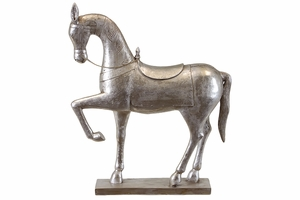 Sparkling Resin Polished Silver Horse by Urban Trends Collection