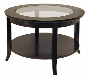 Spectacular Circular Genoa Coffee Table with Glass Inset and Shelf by Winsome Woods