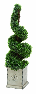 """Spiral Shaped Boxwood Floral Decor 41"""" Height Brand Woodland"""