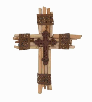 Spiritual Contemporary Wood Metal Cross Brand Benzara