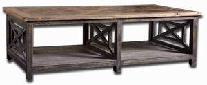Spiro Cocktail Table with Reclaimed Hand Finished Fir Wood Brand Uttermost