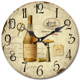 Splendid Circular Wooden Wall Clock with Bottle of Wine Print by Yosemite Home Decor