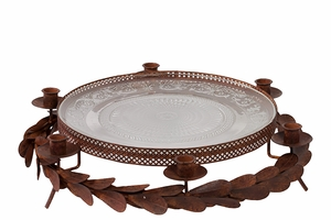 Splendid & Lustrous Large Metal Tray with Glass Insert by Urban Trends Collection