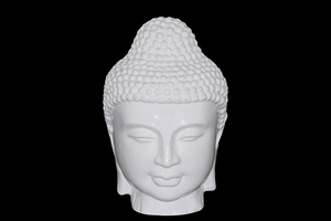 Splendid polished Ceramic White Buddha Head by Urban Trends Collection