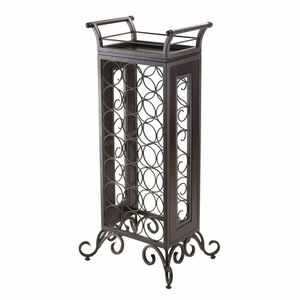 Splendid & Rich Piece of Silvano Dark Bronzw Wine Rack with Removable Tray by Winsome Woods