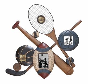 Sports Picture Frames - Classis Sports Wall Decor With 4 Frames Brand Woodland