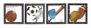 Sporty Metal Wall Decor Four Assorted Brand Benzara