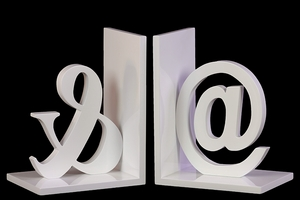 Spotless White Symbol Themed Wooden Bookend