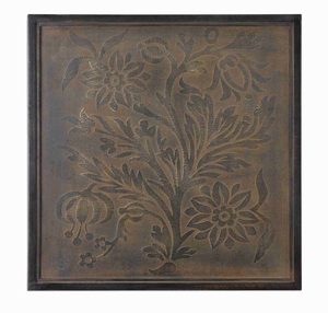 Spring Bloom Metal Wall Art In Bronze Wash And Stretched Canvas Brand Uttermost