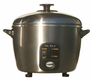 SPT-SC-887-6-cups Stainless Steel Rice Cooker and Steamer by Sunpentown