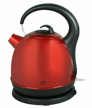 SPT-SK-1715R 1.7L Stainless Cordless Kettle with Red Coating by Sunpentown