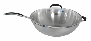 SPT-SK-7362-Stainless Steel Wok with Lid by Sunpentown
