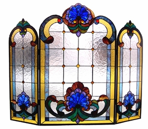 Square Patterned Well Designed Victorian Fireplace Screen by Chloe Lighting