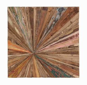 Square Shaped Abstract Wall Decor Painted in Natural Colors Brand Woodland
