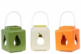 Square Shaped Ceramic Lantern w/ Pear CutOut Set of Three