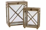 Square Shaped Contemporary Style Wooden Lanterns Set of Two