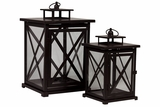 Square Shaped Metal Lantern Set of Two w/ Cross Design on Each Side of the Panel in Brown