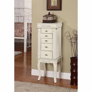 Square Shaped Morris Five Drawer Jewelry Armoire in White Brand Nathan