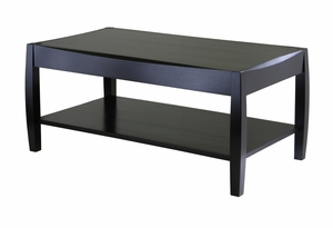 Square Shaped Shiny Black Elegant Cleo Coffee Table by Winsome Woods