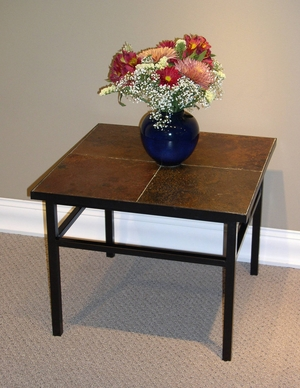 Square Shaped Slate Top Black Metallic Legs