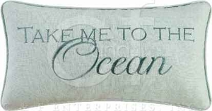 St. Augustine Embroidered Take To The Ocean Pillow 10 x20 Inches Brand C&F