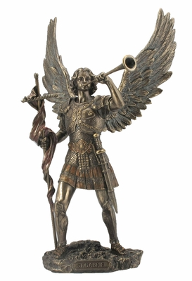 St Gabriel Archangel Statue with Wings in Cold Cast Bronze Brand Unicorn Studio