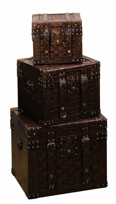 St. Giorgio Faux Leather and Wood Chest Trunks - Set of 3 Brand Woodland