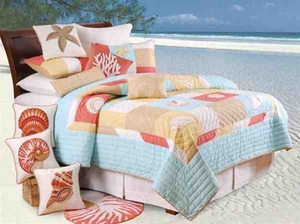 St. Lucia Coastal Decor Nautical Quilt Queen  Bedding Ensembles Brand C&F