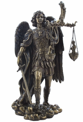 St Michael Archangel Weighing Souls Statue in Cold Cast Bronze Brand Unicorn Studio