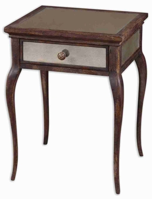 St. Owen Mirrored End Table with French Dovetail Drawer Brand Uttermost