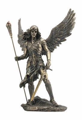 St Sariel Archangel Statue with Sword in Cold Cast Bronze Brand Unicorn Studio