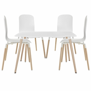 modway eei whi stack dining chairs and table wood set of 5 white - White Wood Dining Chairs