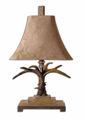 Stag Horn Ivory Table Lamp with Silver Accents Brand Uttermost