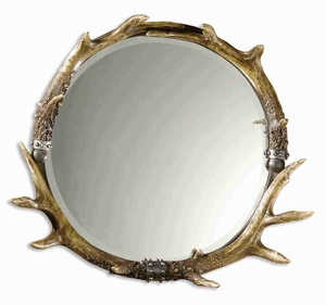 Stag Horn Round Wall Mirror with Rustic Brown and Ivory Finish Brand Uttermost