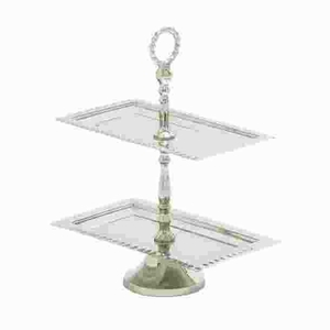Stainless Steel 2 Tier Lavished Tray with Glistening Finish Brand Woodland