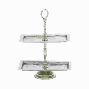 Stainless Steel 2 Tier Tray with Vintage Refined Look Brand Woodland